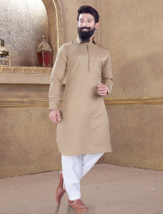 Beige color simple pathani suit