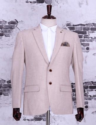 Beige color solid blazer
