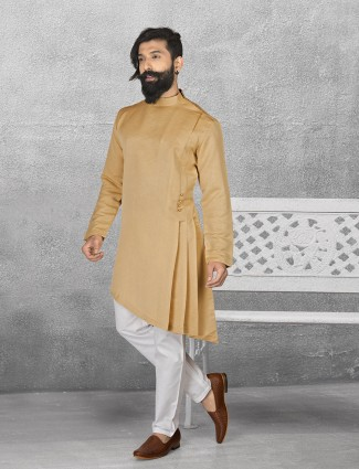 Beige color terry rayon kurta suit