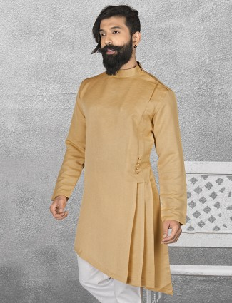 Beige color terry rayon short pathani