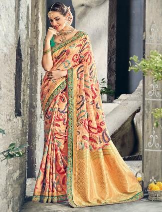 Beige color wedding bhagalpuri silk saree