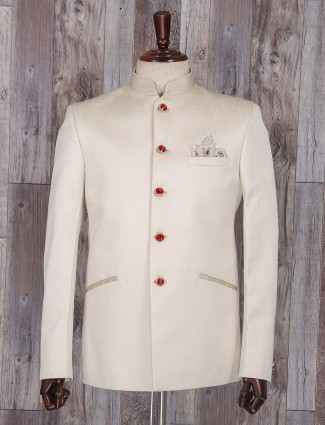 Beige color wedding wear jodhpuri suit
