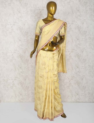 Beige color wonderful saree in cotton silk