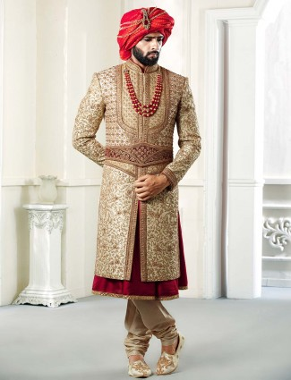 Beige colored designer mens sherwani