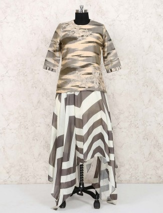 Beige colored printed jecket style long kurti