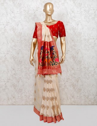 Beige colored semi banarasi silk saree