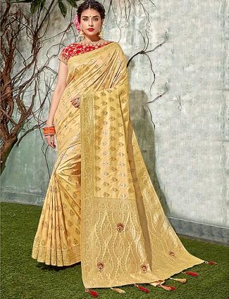 Beige colored semi silk saree