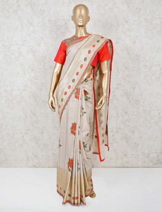 Beige colour ready made blouse saree for wedding
