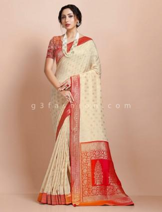 Beige contrast pallu muga silk traditional saree