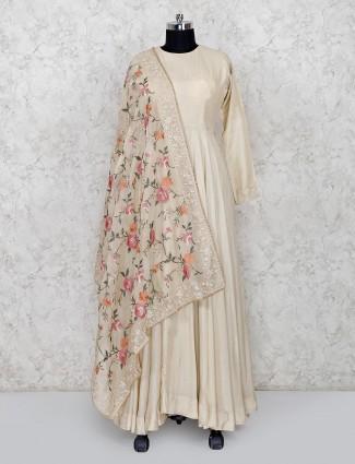 Beige cototn silk floor length anarkali salwar suit design