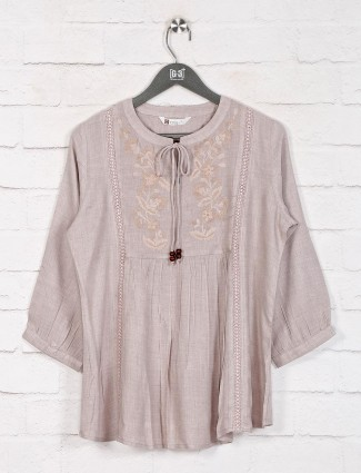 Beige cotton casual top in cotton