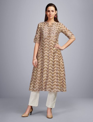 Beige cotton casual wear zigzag printed kurti