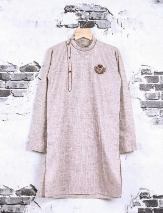 Beige cotton fabric kurta suit