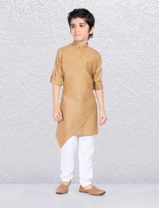 beige cotton fabric kurta suit for boys