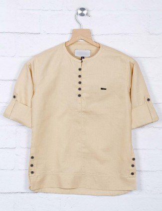 Beige cotton fabric solid casual shirt
