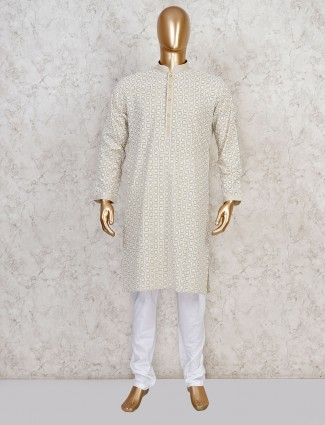 Beige cotton festive occasion kurta suit