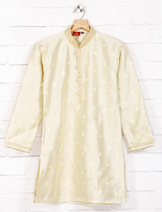 Beige cotton festive wear kurta suit