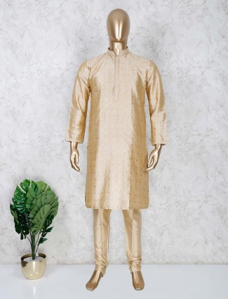 Beige cotton festive wear mens kurta suit