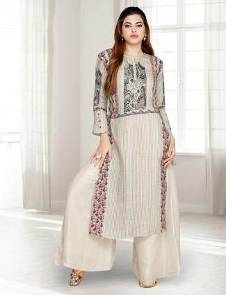 Beige cotton festive wear punjabi palazzo suit