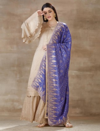 Beige cotton palazzo with kurti for festive
