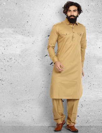 Beige cotton plain pathani suit