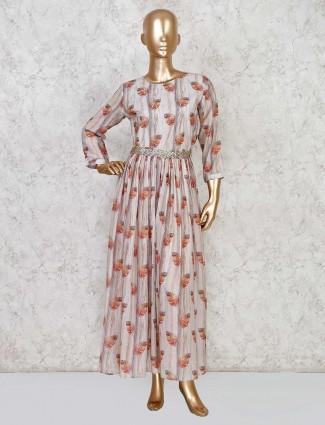 Beige cotton printed salwar suit