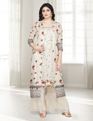 Beige cotton punjabi sharara suit in printed