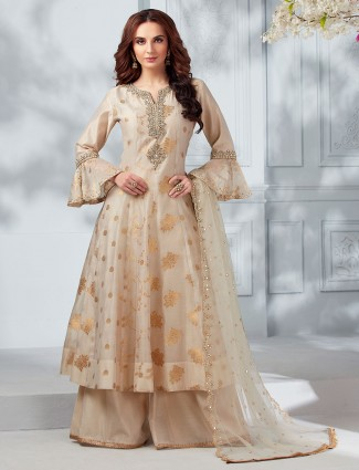 Beige cotton silk beautiful punjabi palazzo suit