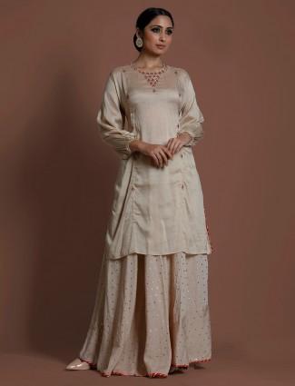 Beige cotton silk cutdana work punjabi lehenga suit