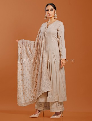 Beige cotton silk festive wear punjabi palazzo suit