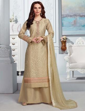 Beige cotton silk festive punjabi palazzo suit