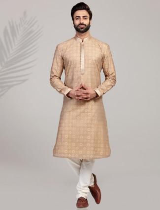 Beige cotton silk festive wear kurta suit