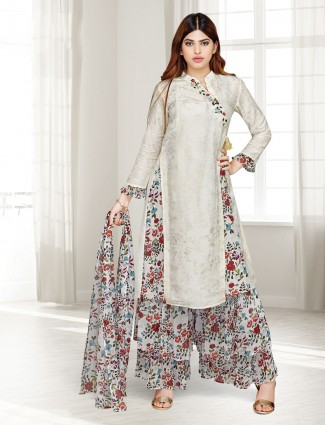 Beige cotton silk festive wear punjabi sharara suit