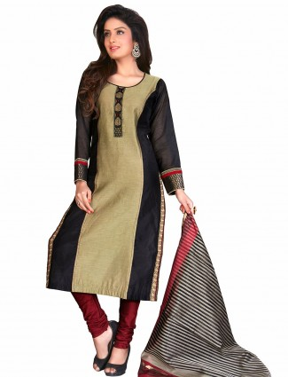 Beige cotton silk festive wear ready made salwar suit