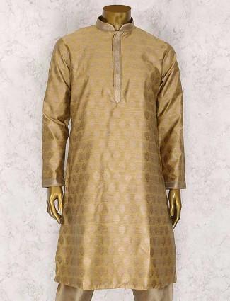 Beige cotton silk kurta suit for wedding
