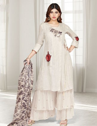 Beige cotton silk printed punjabi sharara suit