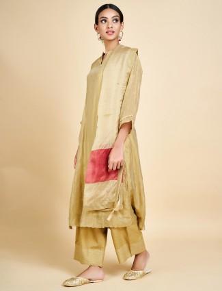 Beige cotton silk punjabi palazzo suit