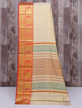 Beige cotton silk simple saree
