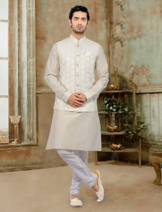Beige cotton silk stand collar waistcoat set