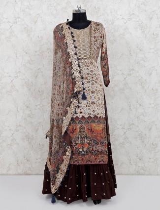 Beige cotton wedding wear printed anarkali suit