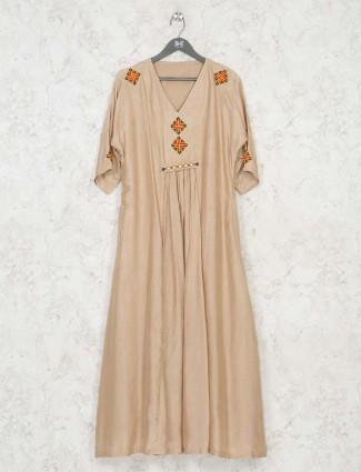 Beige designer festive wear long kurti