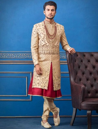 Beige designer groom raw silk sherwani
