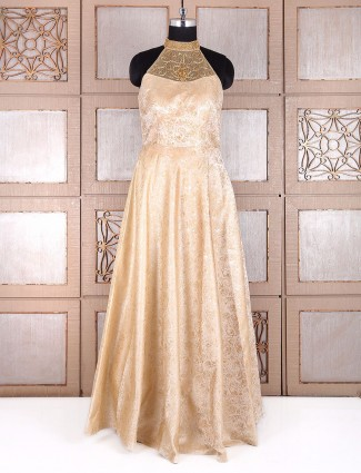 Beige designer one piece salwar suit in silk fabric