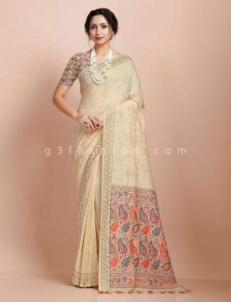 Beige designer pashmina silk saree for festive