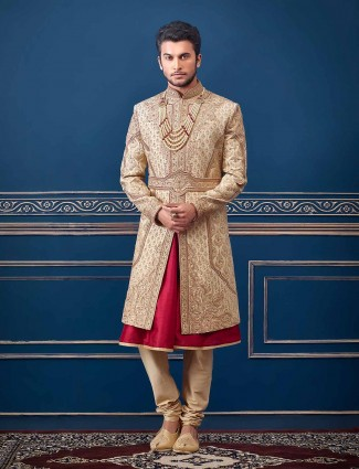 Beige designer raw silk sherwani suit for groom