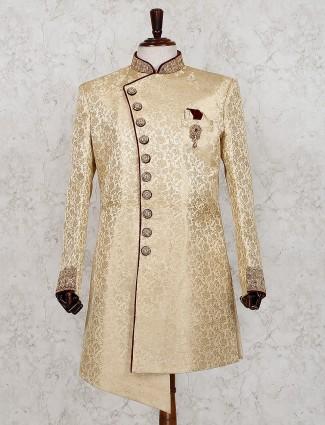 Beige designer silk indo western for wedding
