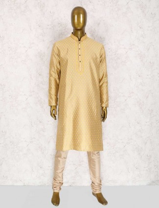 Beige festive kurta suit for mens