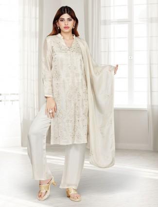 Beige festive wear cotton silk punjabi pant suit
