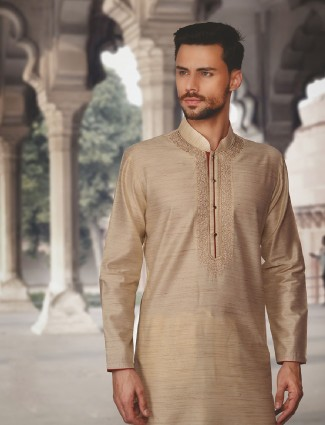 Beige festive wear kurta suit in silk fabric