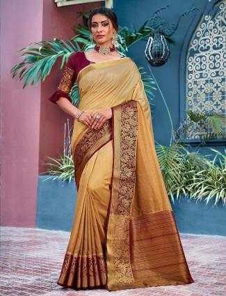 Beige festive wear saree in cotton silk